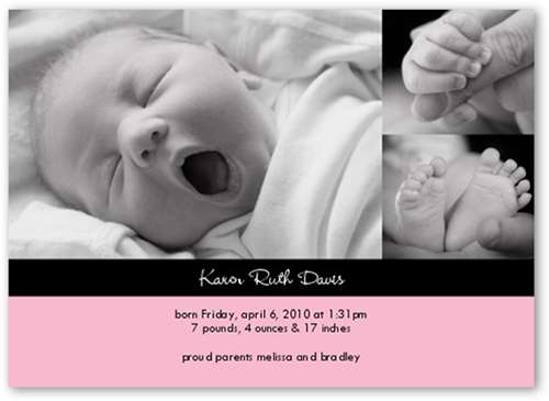 Classy Collage Pink Birth Announcement