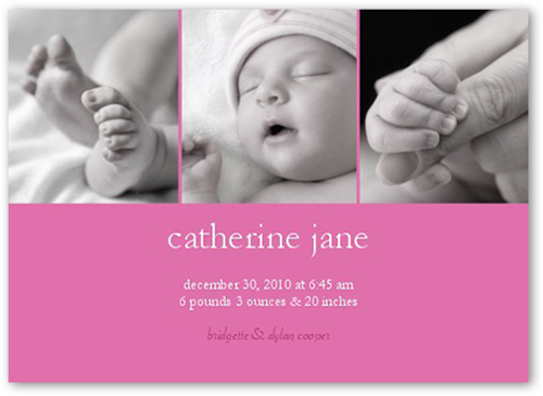Lucent Gallery Pink Birth Announcement