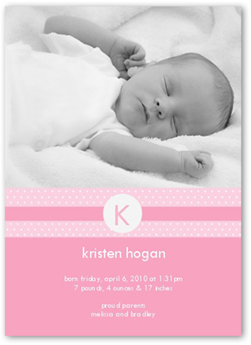 Monogram Melody Pink Birth Announcement
