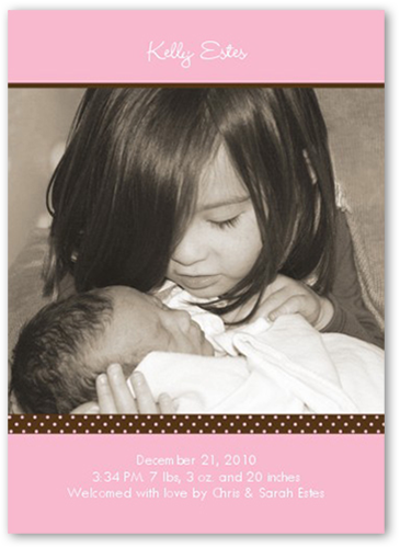 Pacific Portrait Pink Birth Announcement