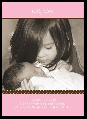 Pacific Portrait Pink Birth Announcement