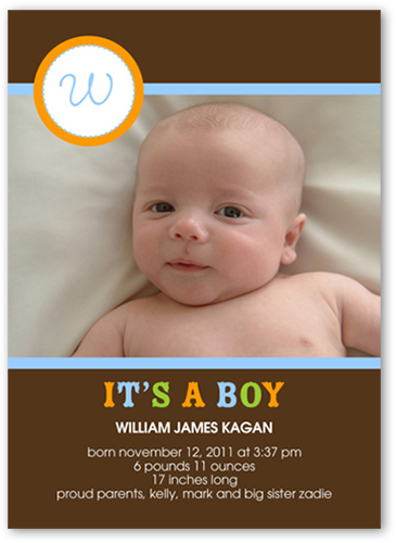 its a boy 5x7 photo card boy baby announcements shutterfly - Baby Announcement Cards