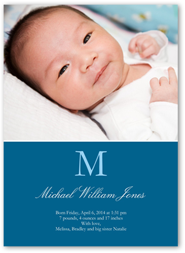 Initial Impressions Boy Birth Announcement, Square Corners