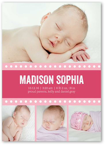 Dotted Banner Girl Birth Announcement, Square Corners