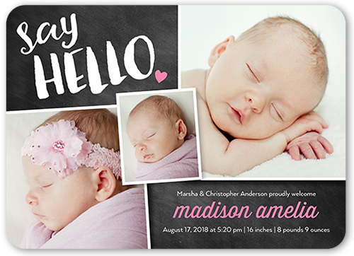 Chalkboard Hello Girl Birth Announcement, Rounded Corners