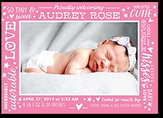 tenderly framed girl birth announcement