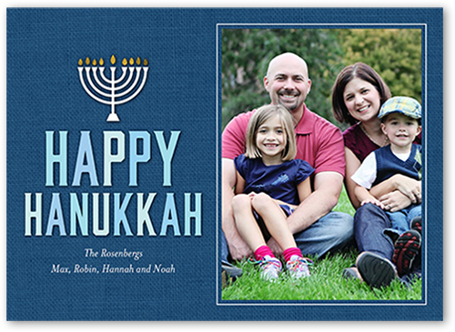 Denim Menorah Hanukkah Card, Square Corners