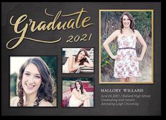 classy grid graduation card 5x7 photo