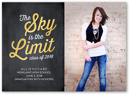 Sky Is The Limit Graduation Card, Square Corners