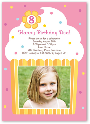 vanilla cupcake 5x7 photo card | birthday invitations | shutterfly, Birthday invitations