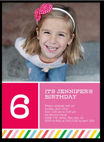 rainbow striped girl 5x7 photo card | birthday invitations, Birthday invitations
