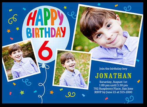 Happiest Day Boy Birthday Invitation, Square Corners