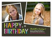 sparkle type birthday invitation 5x7 photo