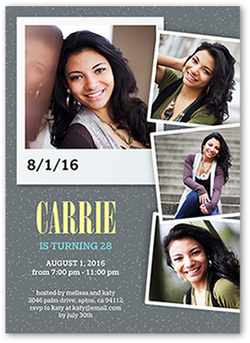 Charming Snapshots Birthday Invitation, Square Corners