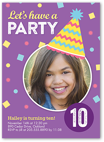 Confetti Party Girl Birthday Invitation, Square Corners