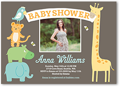 sunny safari boy baby shower invitation 5x7 photo