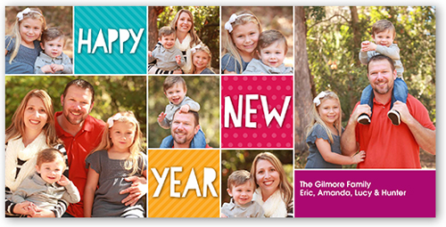 Happy Color Blocks New Year's Card