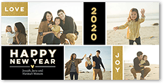 annual love and joy new years card 4x8 photo