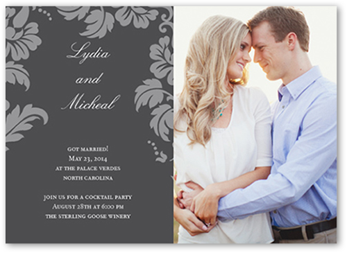 Floret Charcoal 9x9 Photo Wedding Announcement Cards  Shutterfly
