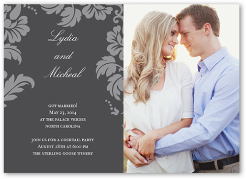 Floret Charcoal Wedding Announcement