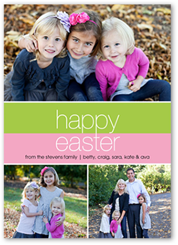 Green And Pink Easter Card, Square Corners