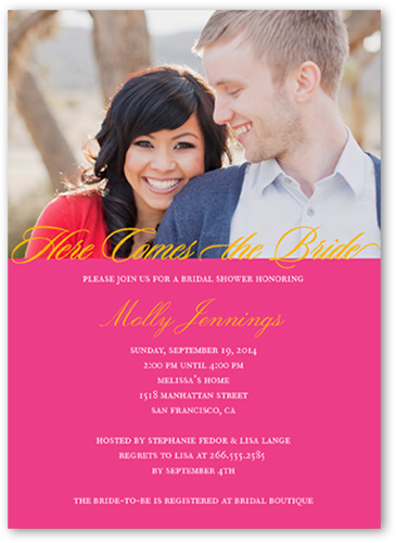 Here Comes Bride Bridal Shower Invitation