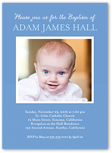 Solid Frame Boy Baptism Invitation