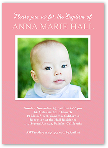 Solid Frame Girl Baptism Invitation