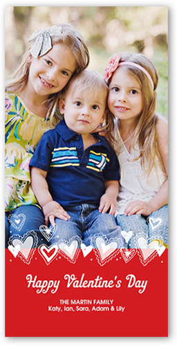 Hearts Aflutter Valentine's Card, Square
