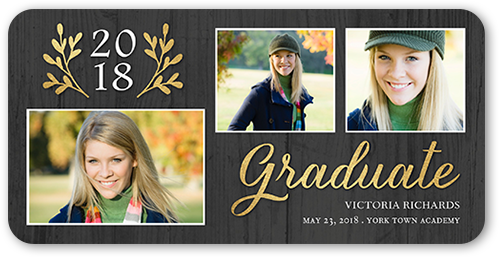 Laurel Year Graduation Card, Rounded Corners