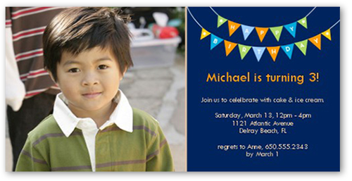 Peppy Pennants Blue Birthday Invitation, Square Corners