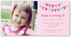 peppy pennants pink birthday invitation 4x8 photo