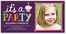 party cupcake birthday invitation 4x8 photo