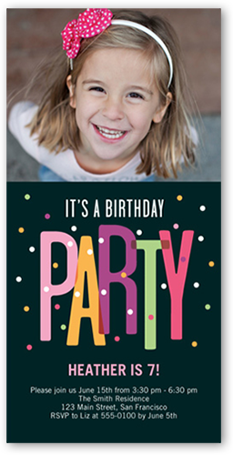 Party Dots Birthday Invitation, Square Corners