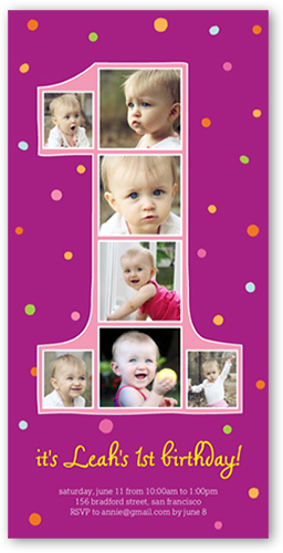 Number one filmstrip girl 4x8 photo card birthday invitations front bookmarktalkfo Gallery