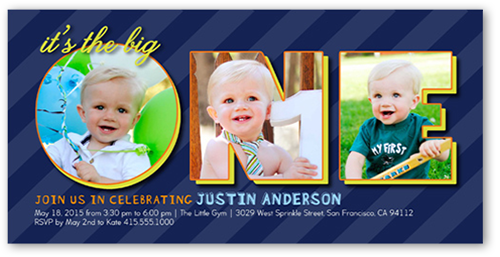 One Collage Boy First Birthday Invitation Shutterfly