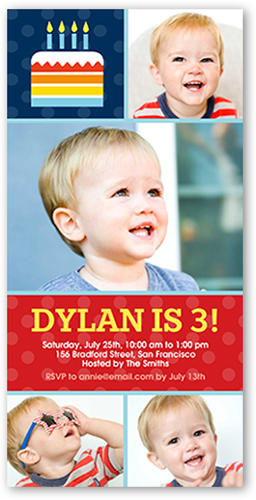 Birthday Cake 4x8 Photo Birthday Party Invitations