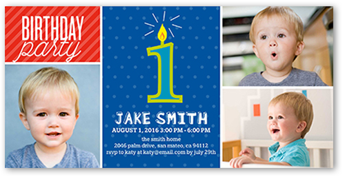 First Candle Boy First Birthday Invitation Shutterfly
