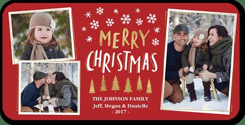 Shiny Trees Christmas Card, Square