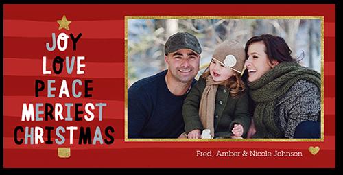 Joyous Festive Tree Christmas Card, Square Corners