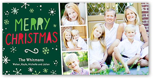 Merry Simple Flurries Christmas Card, Square Corners