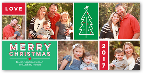 Merry Simple Grid Christmas Card, Square Corners