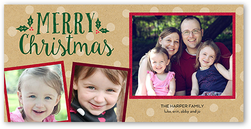 Merry Dots Overlay Christmas Card, Square Corners