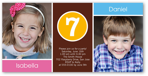 Brother And Sister Twin Birthday Invitation