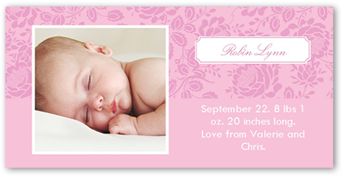 Blossom Rose Birth Announcement, Square Corners