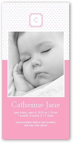 Memento Monogram Pink Birth Announcement