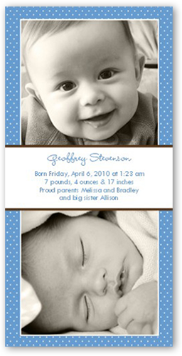 Swiss Dots Blue Birth Announcement