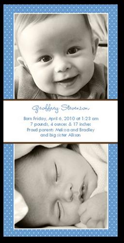 Swiss Dots Blue Birth Announcement