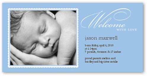 Tonal Type Blue Birth Announcement