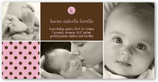andante dots pink birth announcement 4x8 photo